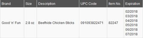 Good-N-Fun-Beefhide-Chicken-Sticks-Dog-Treats-Lot-Info-Table